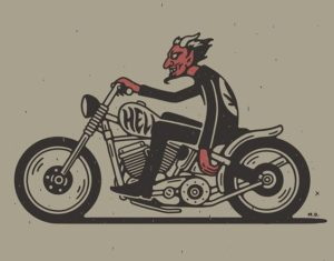 classic motorcycle devil illustration